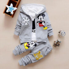 3pcs Toddler Baby Sport Clothing Cartoon Mickey Hooded Vest+Tops+Pants For 1-2Y