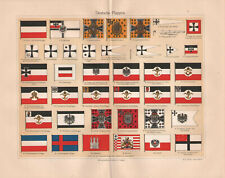 1909. HISTORIC FLAGS OF GERMAN EMPIRE. Antique lithography