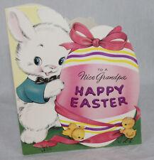 Vintage Happy Easter Grandpa Card Baby Chicks Bunny Unused + Envelope Forget