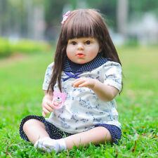 "28"" toddler bebe reborn baby doll Tatiana straight hair boneca silicone toy gift"