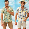 Mens Hawaii Short Sleeve Casual Tee Tops Floral Summer Loose Beach Blouse Shirts