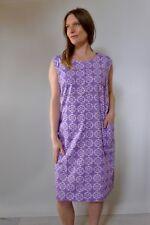 Vintage true 60s unused 2XL cotton plus size shift dress purple pinafore