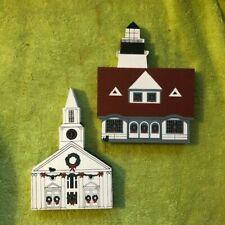 Cat's Meow 1987 Christmas Maine Portland Head Lighthouse & Damariscotta Church