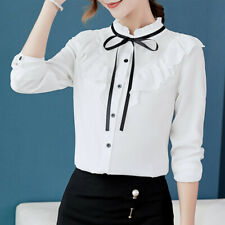 Women Work Office Long Sleeve Bow Tie Flounce Chiffon Korean Blouse Tee ShirtsCA