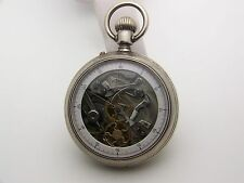 Fancy 1900's Silver Double Dial Skeleton Chonograph Pocket Watch 50mm