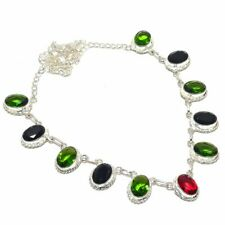 "Peridot, Spinel Gemstone Handmade 925 Sterling Silver Jewelry Necklace 18"""