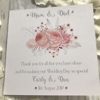 Personalised Thank you Parents of Bride Mother Groom Father Wedding Card Pink