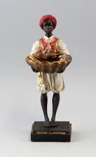 9937012 Figur Skulptur Resin Mohr stehend mit Blattschale H27cm