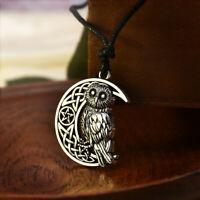 New Goddess Crescent Moon Pendant Owl Wicca Star Pagan Amulet Talisman Necklace