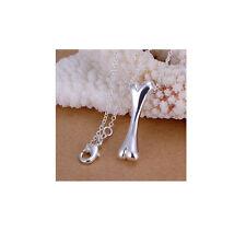 "925 Silver Dog Bone Pendant 18"" Loop Chain & Free jewellery Box"