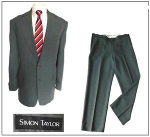 """Simon Taylor mens 2 piece suit Ch44""""R W40"""" L29"""" Sage Green Smart Wedding"""