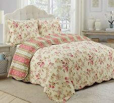 Vintage Rose Floral 100%Cotton 3-Piece Reversible Quilt Set, Bedspread, Coverlet