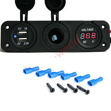 Triple Dual USB Charger Voltmeter 12V Socket Marine Power Outlet Plug 3.1A Car