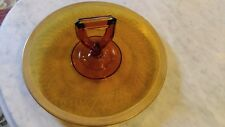 Vintage Amber Depression Glass Etched cake plate with Gold Trim and handle NICE