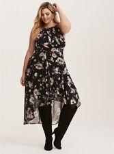 NWT TORRID (2-2X 18-20)  Purple Black Floral Print Chiffon Hi-Lo Dress pleated
