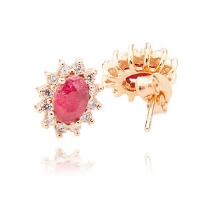 1.4CT Ruby Centre Stone Gold Filled Surrounded By Round Diamonds Earrings.