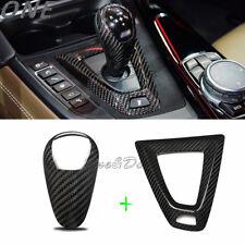 For BMW M2 M3 M4 M5 M6 X5M X6M Carbon Fiber Gear Shift Cover&Base Surround Trim