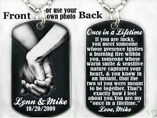 ANNIVERSARY, LOVED ONE, ONCE IN A LIFETIME-Dog tag Necklace or Keychain+FREE ENG