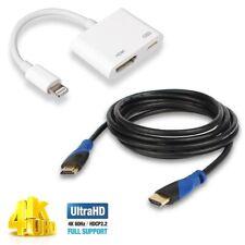 UHD Apple Lightning Digital AV Adapter + 3Ft. HDMI Cable for iPad Monitor Laptop