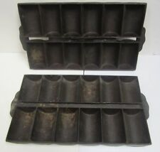 Set of 2 Vintage Cast Iron Roll Cornbread French Bread Baking Pan Mold 24 Count