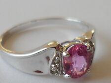 100% natural de Sri Lanka zafiro rosa caliente y Diamante Anillo De Oro Blanco 9K Hermoso.
