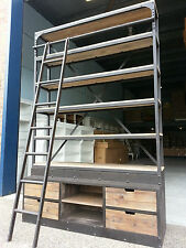NEW FRENCH INDUSTRIAL RECYCLED VINTAGE RUSTIC BOOKCASE SHELF DISPLAY & LADDER