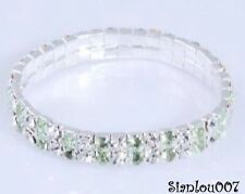 Green & Clear Diamonte / Diamanté  2 Row Stretchy Bracelet - BRAND NEW