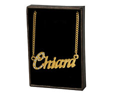 "Name Necklace ""CHIARA"" –18K Gold Plated | Name Plate Wedding Birthday Designer"