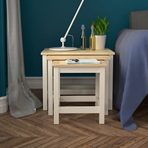 woodluv Nest of 3 Tables Mdf Bedside Sofa End - Buttermilk
