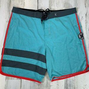 Hurley Phantom Board Shorts Size 38 x 8.5 Swim Blue Red