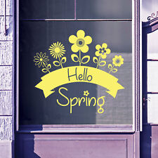 Hello Spring Time Greetings Vinyls Shop Window Display Wall Decals Stickers B17