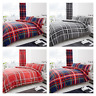 Newton Tartan Check Duvet Quilt Cover & Pillow Case Bedding Set Grey Navy Red