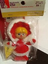 VINTAGE WOOLWORTHS GIRL RED OUFITT WHT FUR GOLD PARASOL CHRISTMAS ORNAMENT NOS