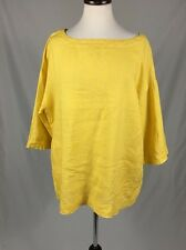 Eileen Fisher Tunic Sz S 100% Irish Linen Yellow Pockets Short Sleeve Oversized