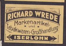 Ancienne étiquette   allumette Allemagne  BN20473 Publicité Tabac