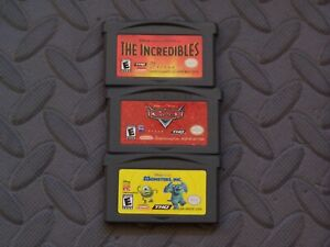 Lot Nintendo Game Boy Advance GBA Games The Incredibles + Cars + Monsters, Inc