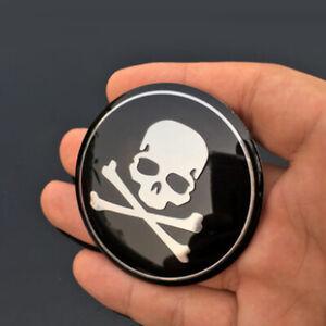 4x Black Car Wheel Emblem Hub Center Caps Cross Bone Skull Logo Sticker