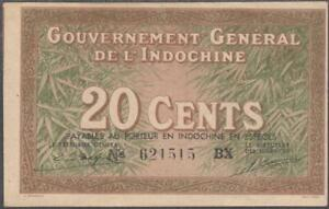 French Indochina 20 Cents Banknote P-86d ND-1939 AUNC