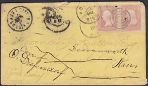 US - NE & KS - Adrian MI Cover to Nebraska Territory Forwarded to Kansas 1866 ?