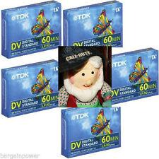 5x TDK Mini DV Digital Standard Video Cassette Tape LP-90/SP-60 Min Quality