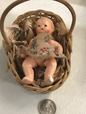 Vintage Doll in Basket from Germany