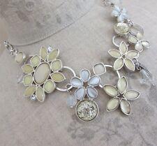 BOHM Flower Bib Necklace Glass & Swarovski Crystal Silver Off-White Opal BNWT