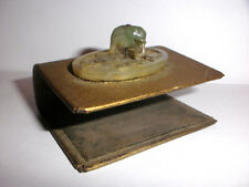 Antique 19thc Chinese matchbox holder with miniature carved green jade elephant