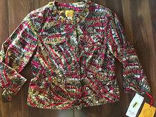 NEW ladies $58 RUBY RD. JACKET blazer STONES brown red printed WORK 8 PETITE 8P