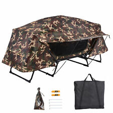 New listing Folding 1 Person Elevated Camping Tent Cot Waterproof Hiking Outdoor w/ Bag Camo