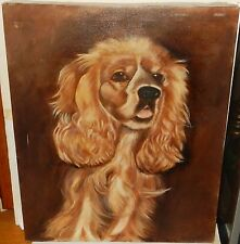 GOLD HAIR COCKER SPANIEL DOG ORIGINAL OIL ON CANVAS PAINTING UNSIGNED