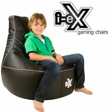 I-ex Rookie Kids Gaming Chair Faux Leather Gamer Bean Bag - Black