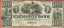 EXCHANGE BANK OF VIRGINIA NORFOLK VA 5.10.1862 $100 CH VF