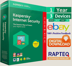 Kaspersky Internet Security 2021 3 Device 1 year (PC/Mac/Android) UK only