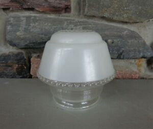 """Vtg Frosted & Clear Glass Light Fixture Glass Shade Globe 5-1/2"""" Tall 4"""" Fitter"""
